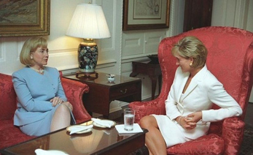 Princess Diana chatting in the Map Room with United States First Lady Hillary Clinton, 18 June 1997, two months before Diana's death. Photo Credit: US Federal Government, Wikipedia Commons.