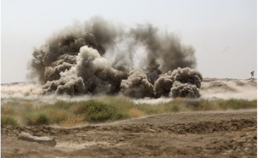 An anti-personnel obstacle breaching system destroys ordinance during a United Kingdom-led combat engineer training course at the Besmaya Range Complex, Iraq, July 26, 2017. The complex is one of four Combined Joint Task Force Operation Inherent Resolve building-partner-capacity sites to train partner forces and enhance their effectiveness on the battlefield. DoD photo by Army Cpl. Tracy McKithern