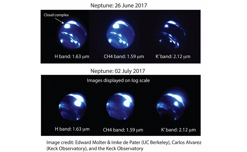 Images of Neptune taken during twilight observing revealed an extremely large bright storm system near Neptune's equator (labeled 'cloud complex' in the upper figure), a region where astronomers have never seen a bright cloud. The center of the storm complex is ~9,000 km across, about 3/4 the size of Earth, or 1/3 of Neptune's radius. The storm brightened considerably between June 26 and July 2, as noted in the logarithmic scale of the images taken on July 2. Credit N. Molter/I. De Pater, UC Berkeley & C. Alvarez, W. M. Keck Observatory