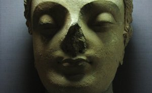Buddha Head, Stucco, Gandhara School of art with its roots in the Greco-Roman art had flourished under the Kushana empire - 5 century A.D., L.D. Museum, Ahmedabad. Photo by Vatsal Vekaria.