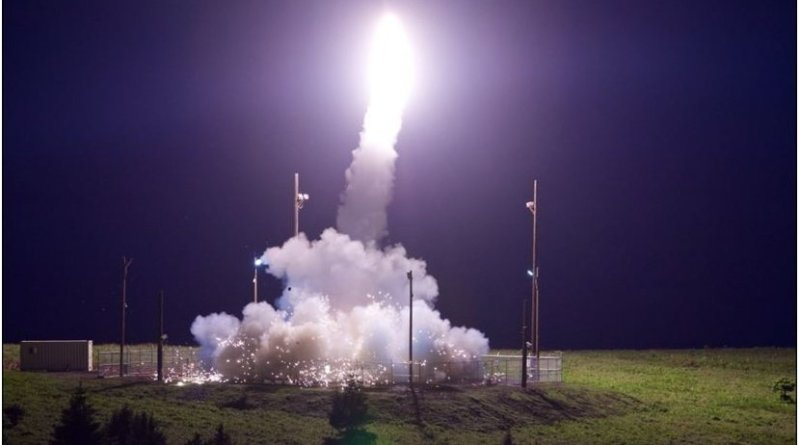 A Terminal High Altitude Area Defense interceptor is launched from the Pacific Spaceport Complex Alaska in Kodiak, Alaska, during Flight Test THAAD-18, July 11, 2017. During the test, the THAAD weapon system successfully intercepted an air-launched intermediate-range ballistic missile target. Defense Department photo by Leah Garton