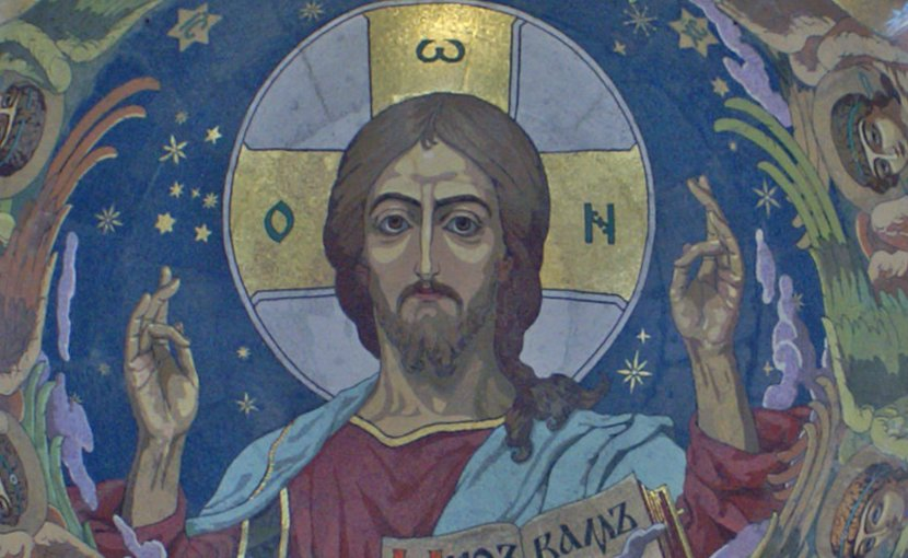 Details of Christ Pantokrator inside the dome of Church of the Saviour on the Blood, St. Petersburg, Russia. Photo by Heidas, Wikipedia Commons..