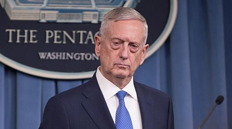 File Photo of US Defense Secretary Jim Mattis conducting a news conference at the Pentagon. DoD photo by Army Sgt. Amber I. Smith.
