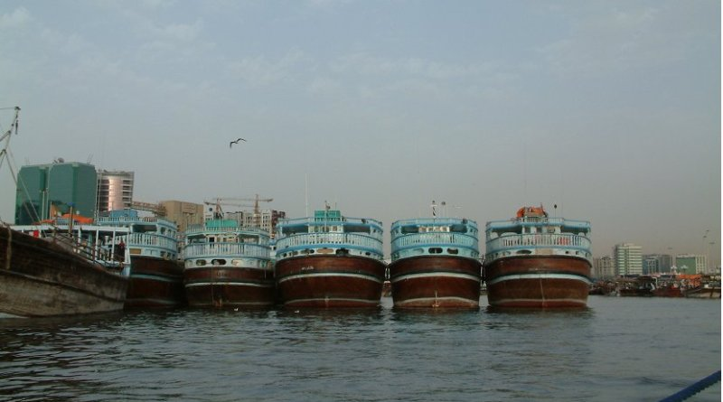 Dhow's in harbor of Dubai, United Arab Emirates.