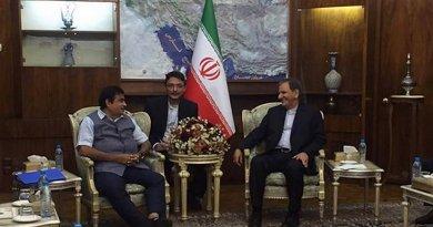India's Nitin Gadkari meeting with First Vice President of Iran Mr Eshaq Jahangiri. Photo: PIB, Govt of India.