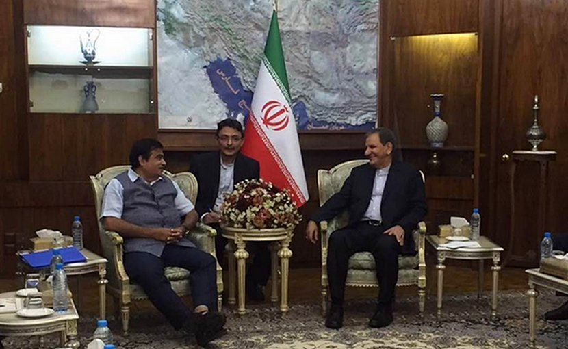India's Nitin Gadkari meeting with First Vice President of Iran Mr Eshaq Jahangiri. Photo: PIB, Govt of India.