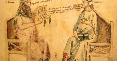 "Imaginary debate between Averroes And Porphyry. Source:Monfredo de Monte Imperiali ""Liber de herbis"", 14th century. Reproduction in ""Inventions et decouvertes au Moyen-Age"", Samuel Sadaune, Wikipedia Commons."