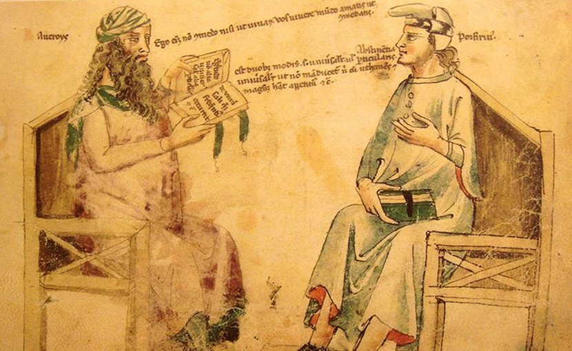"Imaginary debate between Averroes And Porphyry. Source:Monfredo de Monte Imperiali ""Liber de herbis"", 14th century. Reproduction in ""Inventions et decouvertes au Moyen-Age"", Samuel Sadaune, Wikipedia Commons."