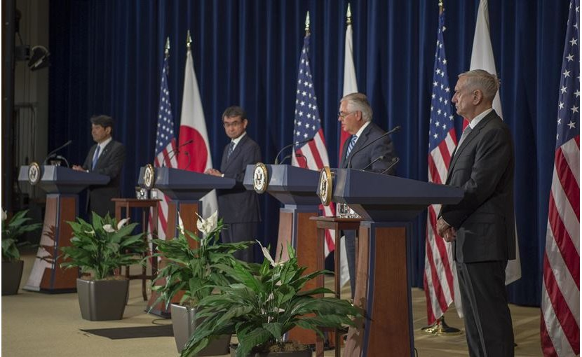 From left, Japanese Defense Minister Itsunori Onodera, Japanese Foreign Minister Taro Kono, Secretary of State Rex Tillerson and Defense Secretary Jim Mattis host a joint news conference following a U.S.-Japan Security Consultative Committee meeting at the State Department, Aug. 17, 2017. DoD photo by Air Force Tech. Sgt. Brigitte N. Brantley