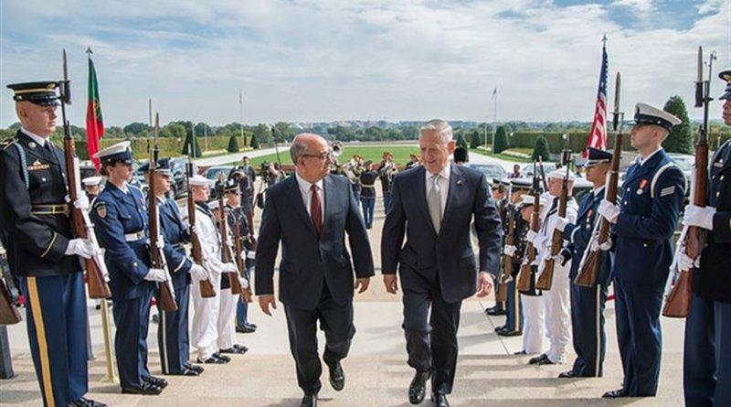 Defense Secretary Jim Mattis meets with Portuguese Defense Minister Jose Alberto Azeredo Lopat the Pentagon, Sept. 12, 2017. DoD photo by Air Force Staff Sgt. Jette Carr