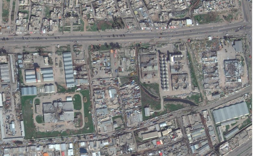 This is damage to Mosul's Mintaqah Industrial area as of February 2016. Credit Image from DigitalGlobe.