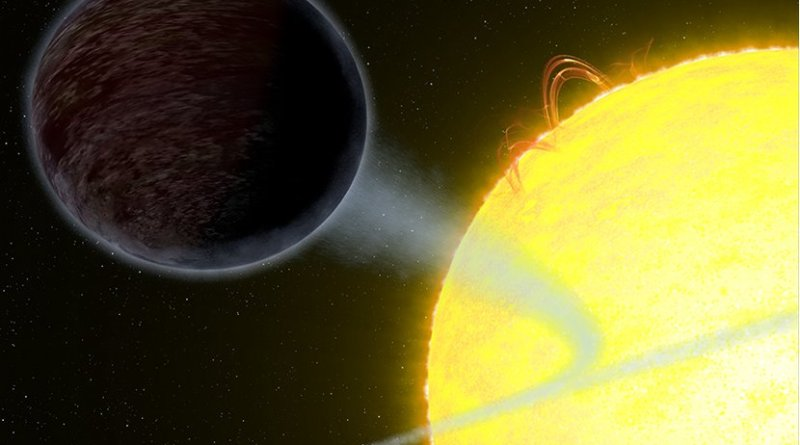 WASP-12b is one of the darkest known exoplanets — as black as fresh asphalt. The exoplanet, which is twice the size of Jupiter, has the unique capability to trap at least 94 percent of the visible starlight falling into its atmosphere. The planet orbits so close to its host that it has fixed day and night sides. The day side hordes all the visible light because it always faces its star. A swirl of material from the planet's super-heated atmosphere is spilling onto its star. Credit: NASA, ESA, and G. Bacon (STScI)