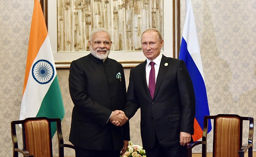 India's Prime Minister Narendra Modi with Russia's President Vladimir Putin meeting on sidelines of BRICS2017. Photo Credit: India PM Office.