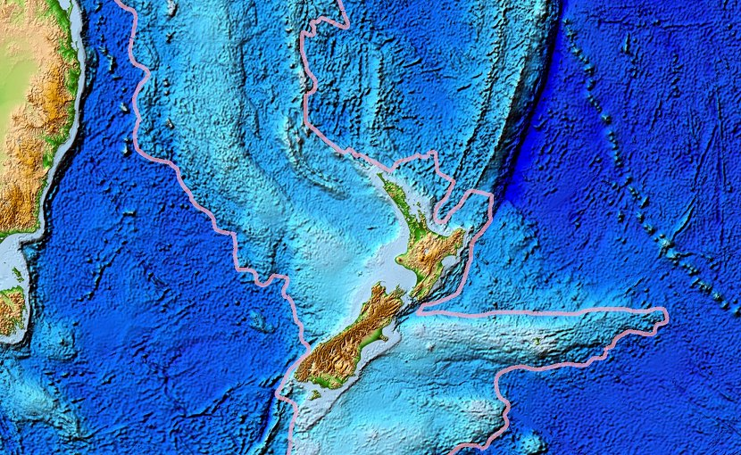 Topographical map of the Zealandia continent. Credit: NOAA, public domain