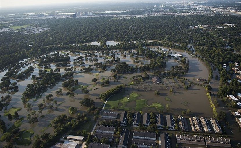 Houston remains flooded following Hurricane Harvey, Aug. 31, 2017. The hurricane formed in the Gulf of Mexico and made landfall in southeastern Texas, bringing record flooding and destruction to the region. Military assets supported the Federal Emergency Management Agency and state and local authorities in rescue and relief efforts. Air Force photo by Tech. Sgt. Larry E. Reid Jr.