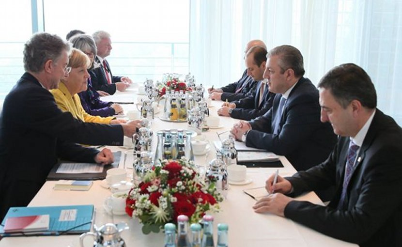 Georgia's Prime Minister Giorgi Kvirikashvili meets with Germany's Chancellor Angela Merkel. Photo Credit: Government of Georgia.