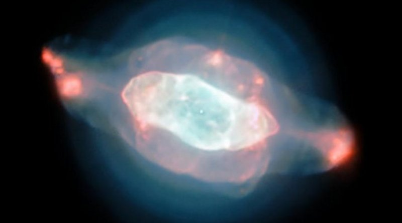 The spectacular planetary nebula NGC 7009, or the Saturn Nebula, emerges from the darkness like a series of oddly-shaped bubbles, lit up in glorious pinks and blues. This colorful image was captured by the powerful MUSE instrument on ESO's Very Large Telescope (VLT), as part of a study which mapped the dust inside a planetary nebula for the first time. Credit ESO/J. Walsh