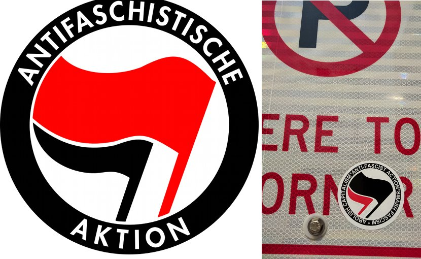 The American Antifa traces its ideological lineage to both Germany and the British Battle of Cable Street. Logo on the left is from Germany 1932, and image on the right a 2017 Antifa sticker (photo by Runner1928, Wikipedia).