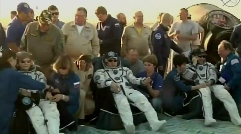NASA astronaut Peggy Whitson, Russian cosmonaut Fyodor Yurchikhin of Roscosmos, and NASA astronaut Jack Fischer undergo routine initial medical checks after returning from their mission aboard the International Space Station at 9:21 p.m. EDT Saturday (7:21 a.m. Kazakhstan time, Sunday, Sept. 3), landing southeast of the remote town of Dzhezkazgan in Kazakhstan. Credits: NASA TV