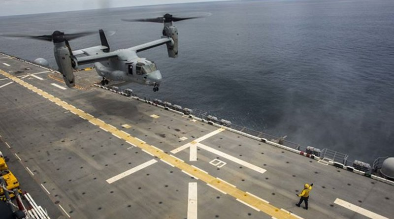 A Marine Corps MV-22B Osprey aircraft assigned to Marine Medium Tiltrotor Squadron 162 (Reinforced), 26th Marine Expeditionary Unit, lands aboard the amphibious assault ship USS Kearsarge in the Atlantic Ocean, Sept. 3, 2017. About 690 Marines from the 26th MEU embarked aboard the amphibious assault ship in preparation to support hurricane relief efforts. Marine Corps photo by Cpl. Juan A. Soto-Delgado