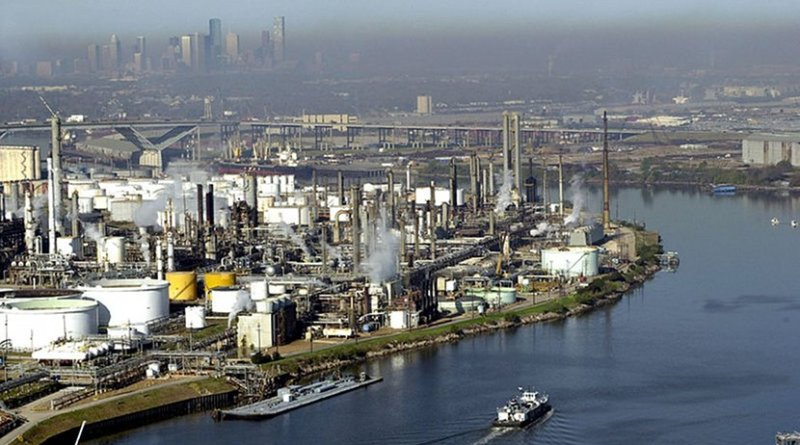 The Port of Houston, Texas with refineries in foreground. Photo by United States Coast Guard, PA2 James Dillard, Wikimedia Commons.