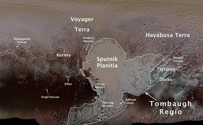Pluto's first official surface-feature names are marked on this map, compiled from images and data gathered by NASA's New Horizons spacecraft during its flight through the Pluto system in 2015. Credit NASA/JHUAPL/SwRI/Ross Beyer