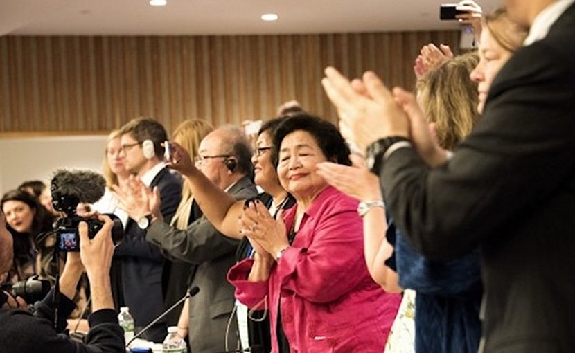 Applause for adoption of the UN Treaty Prohibiting Nuclear Weapons on July 7, 2017 in New York. Credit: ICAN