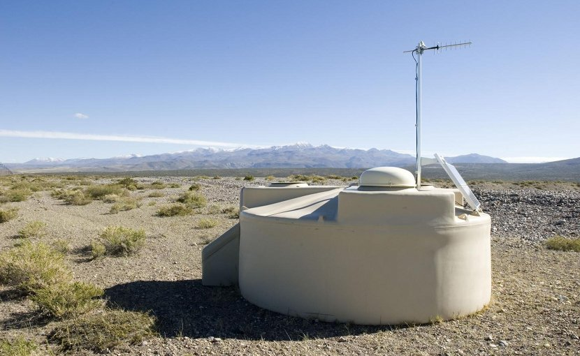 """An Auger Observatory water-Cherenkov detector on the Pampa Amarilla in western Argentina. This material relates to a paper that appeared in the Sept. 22, 2017, issue of Science, published by AAAS. The paper, by The Pierre Auger Collaboration, and colleagues was titled, """"Observation of a large-scale anisotropy in the arrival directions of cosmic rays above 8 × 1018 eV."""" Credit The Pierre Auger Observatory"""