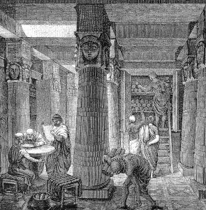 Artistic Rendering of the Library of Alexandria, based on some archaeological evidence. Drawing by O. Von Corven, Wikipedia Commons.