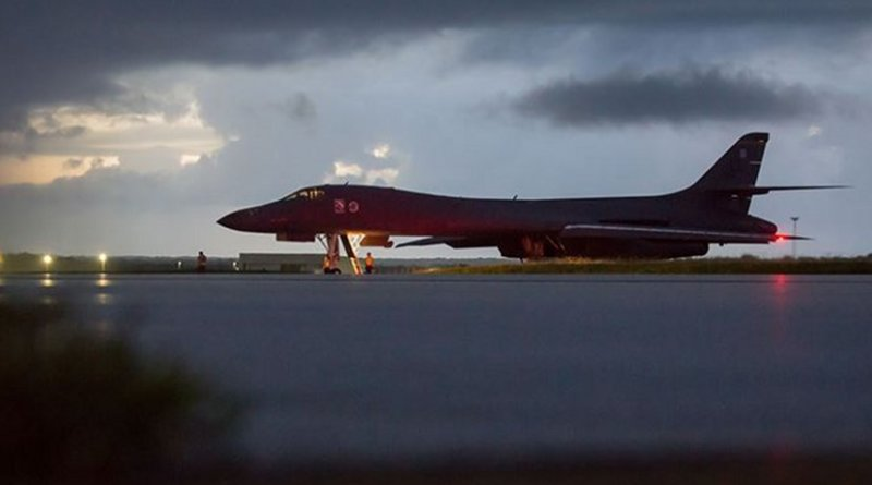 An Air Force B-1B Lancer assigned to the 37th Expeditionary Bomb Squadron, deployed from Ellsworth Air Force Base, South Dakota, prepares to take off from Andersen Air Force Base, Guam, Sept. 23, 2017. The mission was flown as part of the continuing demonstration of the U.S. commitment to the defense of its homeland and in support of its partners and allies, Defense Department and U.S. Pacific Command officials said. Air Force photo by Staff Sgt. Joshua Smoot