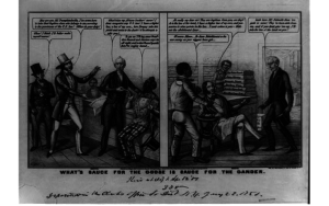 "Pro-Southern cartoon, 1851. The cartoon equates escaped slaves (left panel) with stolen textiles (right panel). The enslaved in the right panel says an abolitionist is his ""wus enemy."" (Source: Library of Congress Prints and Photographs Division)"