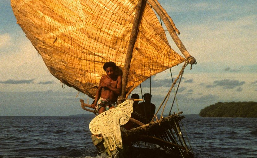 People of the Trobriand Islands sailing in traditional canoe in the Papua New Guinea area. The Trobrianders' language Kilivila is included in the study. Credit Gunter Senft