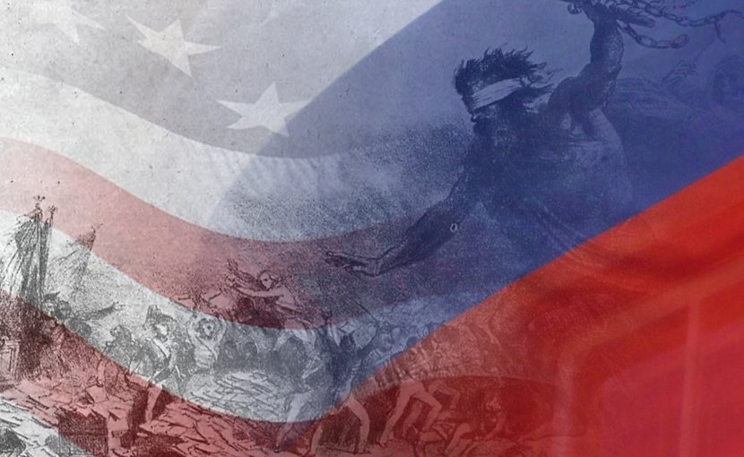 """Russophobia: Propaganda depiction of a barbaric Russian invasion of Europe in """"La Caricature"""" by Denis-Auguste-Marie Raffet, upon backdrop of Russian and US flags."""