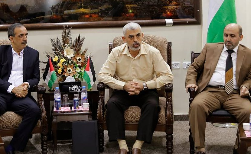 Hamas Gaza chief Yahya al-Sinwar (center). File photo credit: Hamas.