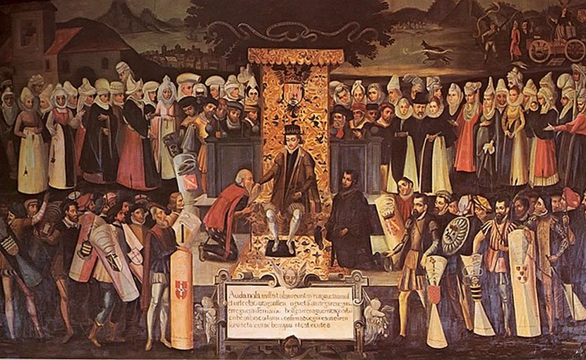 "Ferdinand the Catholic confirming the fueros of Biscay at Guernica in 1476. Painting, Vázquez de Mendieta, ""Besamanos"", Wikipedia Commons."