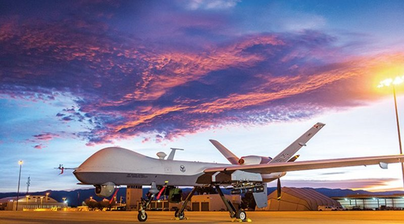 MQ-9 Reaper (drone) remotely piloted aircraft at Holloman Air Force Base, New Mexico, December 16, 2016 (U.S. Air Force/J.M. Eddins, Jr.)
