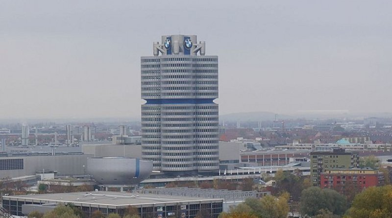 BMW Headquarters in Munich, Germany. Photo by Berlinuno, Wikipedia Commons.