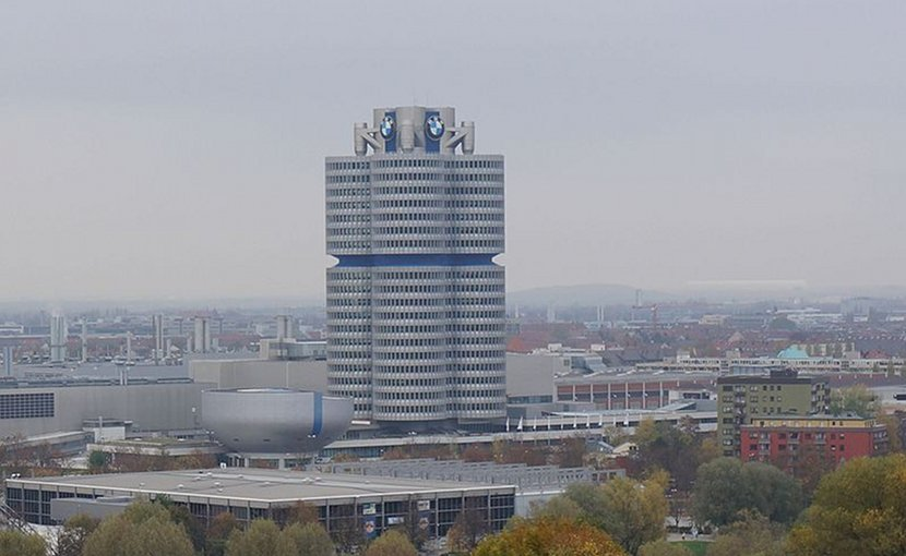 BMW Headquarters in Munich, Germany. Photo by Berlinuno, Wikipedia Commons.
