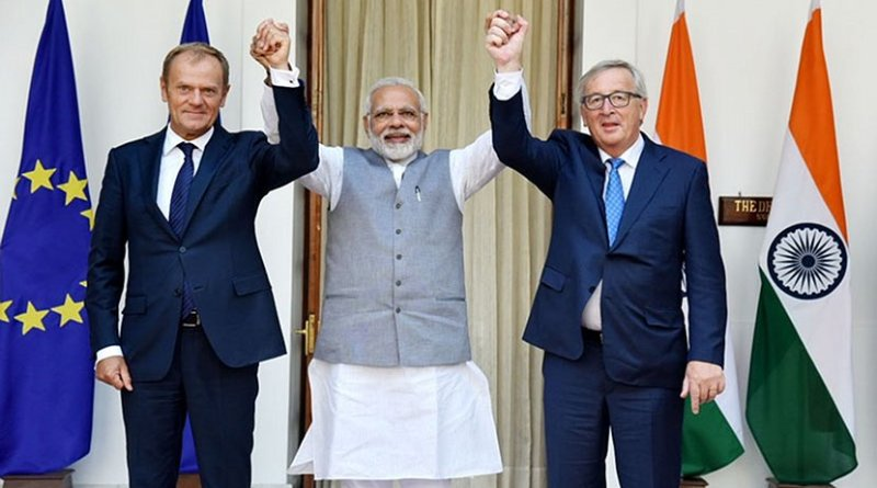 India's Prime Minister, Shri Narendra Modi with the President, European Council, Mr. Donald Franciszek Tusk and the President, European Commission, Mr. Jean-Claude Juncker, at Hyderabad House, in New Delhi on October 06, 2017. Photo Credit: India PM Office.