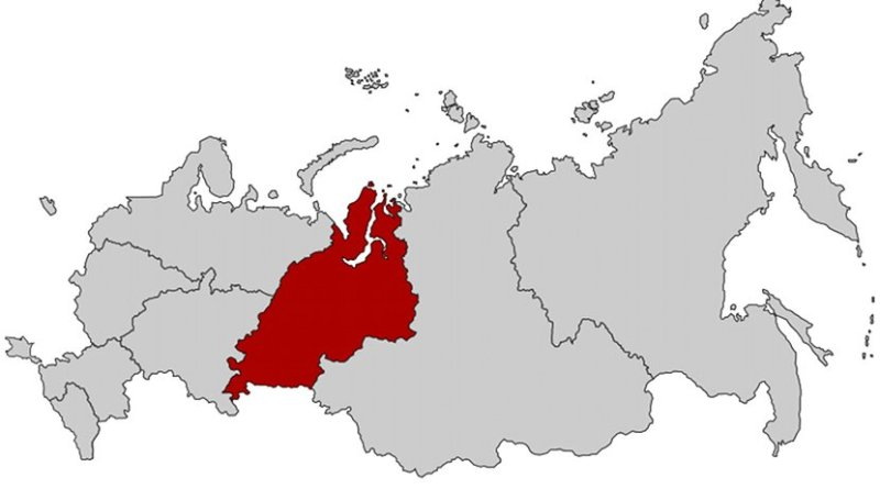 Location of Ural Federal District in Russia. Source: Wikipedia Commons.