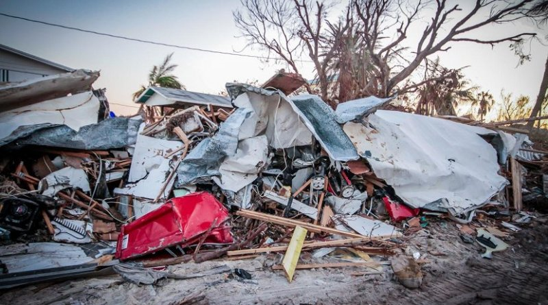 A trailer in Marathon, Florida, the most populated island in the Florida Keys, was completely destroyed by Hurricane Irma. A new University of Vermont study projects that financial loss could increase more than 70 percent by 2100 if oceans warm at a rate forecast by the Intergovernmental Panel on Climate Change under the panel's worst case scenario. Credit Zak Bennett