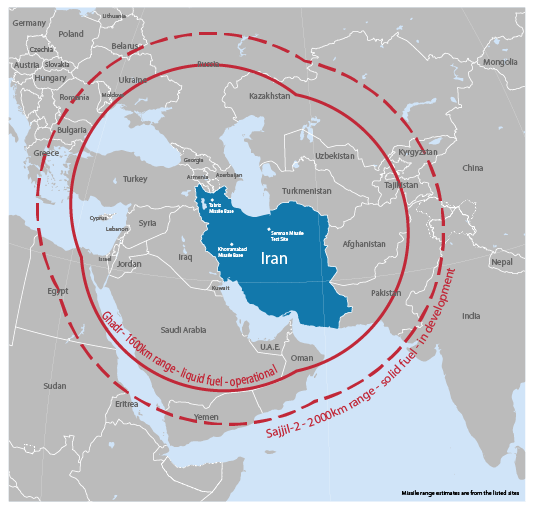 Figure 1: Reach of Iran's missiles. Source: 'Between the shield and the sword: NATO's overlooked missile defense dilemma', Ploughshares Fund, June 2017.