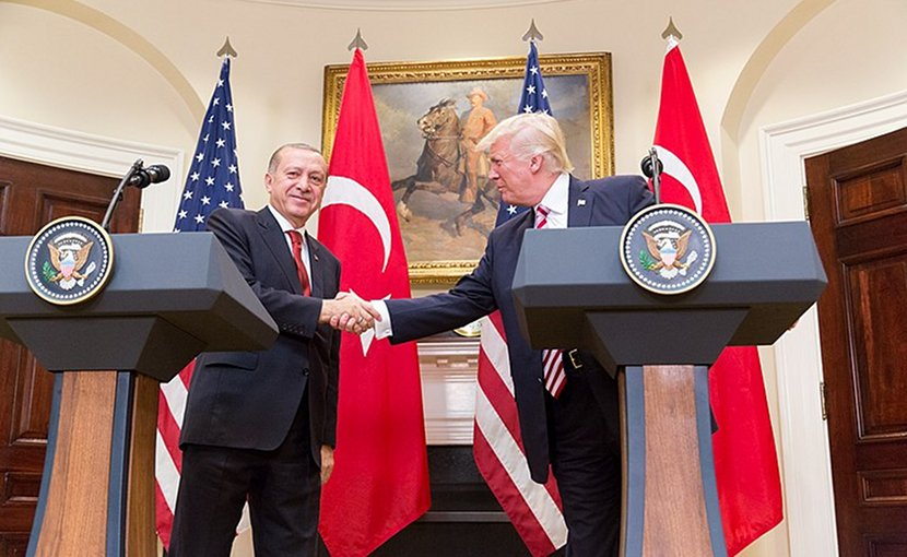US President Donald Trump and President Erdoğan give a joint statement in the Roosevelt Room at the White House, Tuesday, May 16, 2017 in Washington, D.C. Photo by Shealah Craighead, White House.