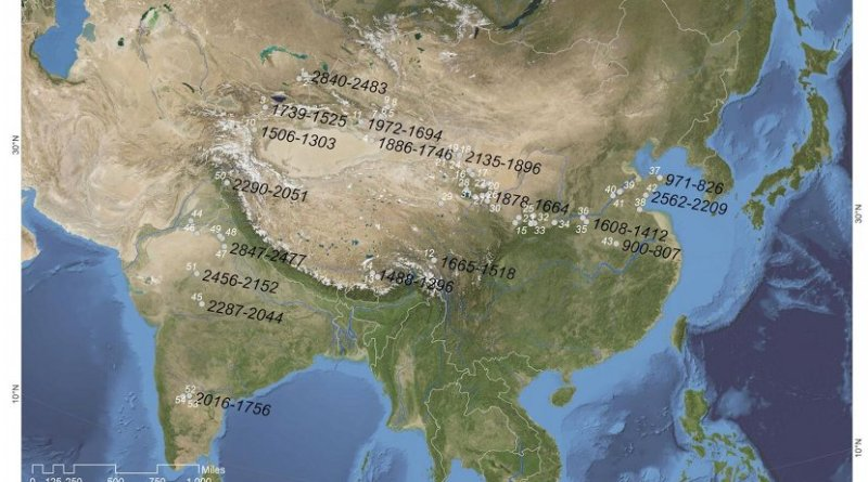 Map of Eurasia shows the oldest radiocarbon-measured dates (B.C.) for individual grains of barley recovered from each region. Wheat and barley arrived in South Asia about a millennium before they arrived in East Asia. Free-threshing wheats spread to China along a route to the north of the Tibetan Plateau. Naked barley is likely to have been introduced to China via southern highland routes that remain to be identified. Credit Image: Courtesy of PLOS One