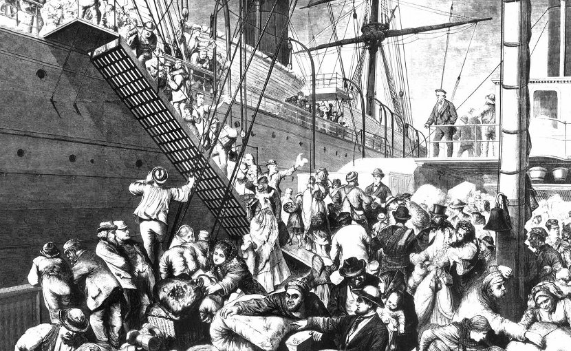 """From the Old to the New World"""" shows German emigrants boarding a steamer in Hamburg, Germany, to come to America. Published in Harper's Weekly, (New York) November 7, 1874, WIkipedia Commons."""