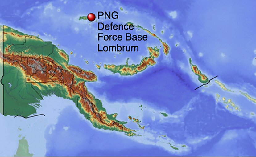 Lombrum Naval Base's location in Papua New Guinea. Source: Wikipedia Commons.