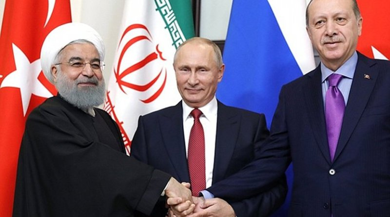 Russia's President Vladimir Putin meets with President of Iran Hassan Rouhani and President of Turkey Recep Tayyip Erdogan. Photo Credit: Kremlin.ru