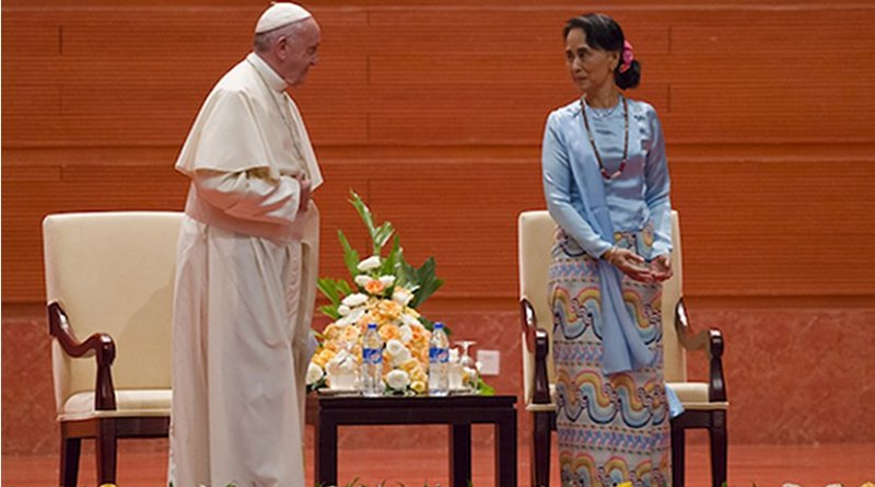 Pope Francis and Myanmar's civilian leader Aung San Suu Kyi. Photo by Ye Aung Thu, ucanews.com