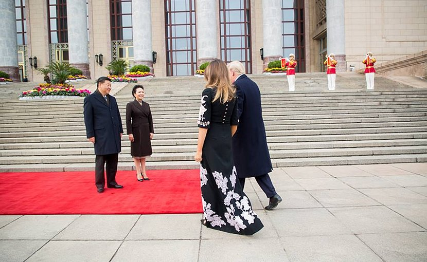 US President Donald J. Trump and First Lady Melania Trump arrive in China and greeting by China's President Xi Jinping and First Lady Peng Liyuan,| November 8, 2017 (Official White House Photo by Shealah Craighead)