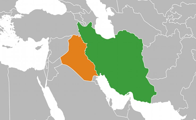 Locations of Iran (green) and Iraq (orange). Source: WIkipedia Commons.